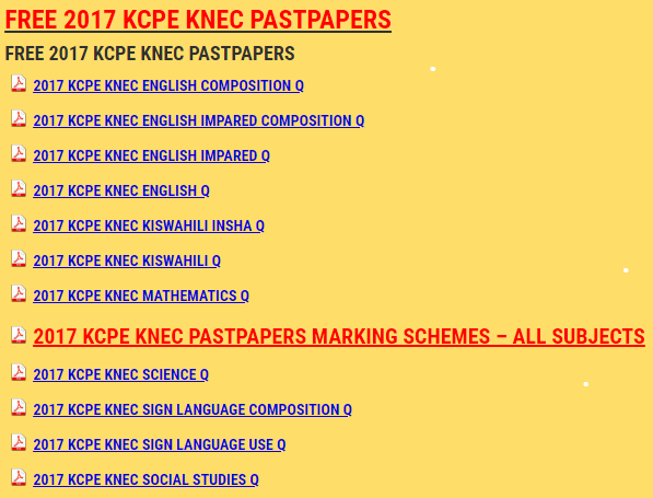 2017 FREE KNEC KCPE PASTPAPERS