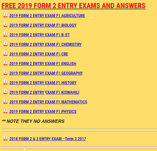 FREE 2019 FORM 2 ENTRY EXAMS AND ANSWERS - KCPE-KCSE