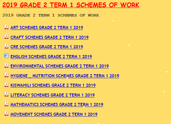 2019 GRADE 2 TERM 1 SCHEMES OF WORK - KCPE-KCSE