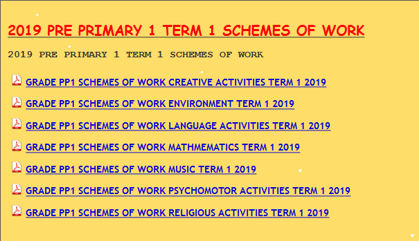 schemes of work