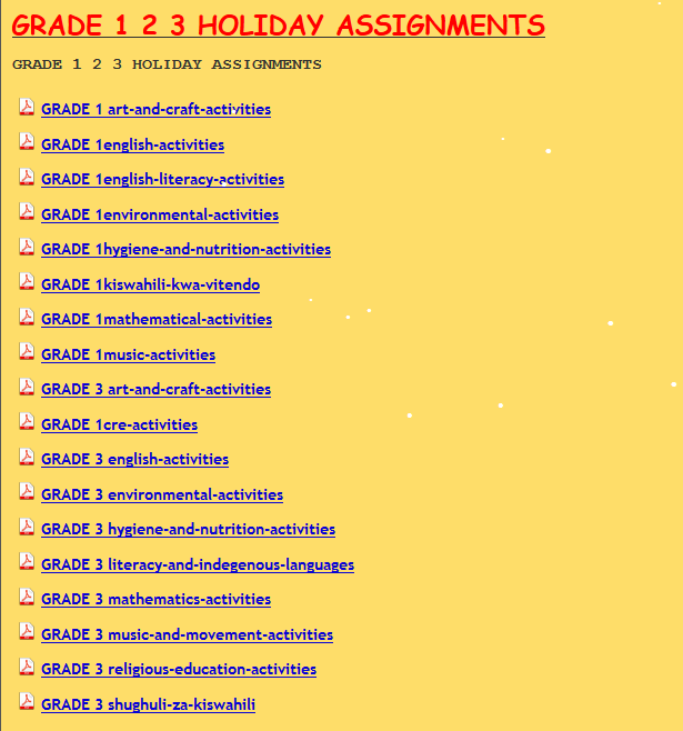GRADE 1 2 3 HOLIDAY ASSIGNMENTS - KCPE-KCSE